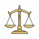 court, judicial, justice, lawyer, scale, wieght icon