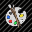art, brush, color, paint, painting kit, palette mixer