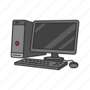 computer, desktop computer, pc, personal computer, web icon