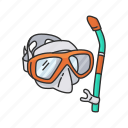 diving, goggles, mask, scuba diving, scuba gear, snorkel, snorkeling mask icon