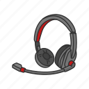 call center agent, calls, earphone, headset, mic, operator icon