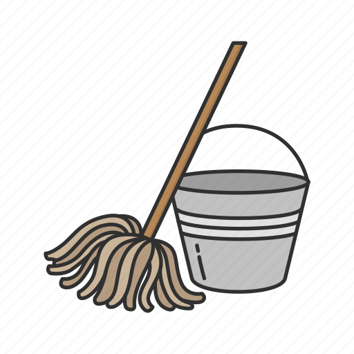 bucket, cleaning, floor mop, janitor, mop icon