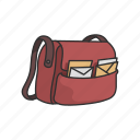 courier, letters, mail, mailman, messages, satchel icon