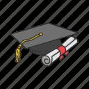 cap, college, degree, diploma, education, graduation cap, student icon