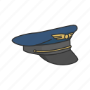 aircraft pilot, cap, hat, pilot, pilot cap, pilot uniform icon