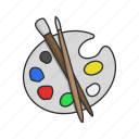 art, brush, color palette, paint, painting, painting kit icon