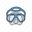 diving, goggles, scuba diving, scuba gear, snorkel, snorkeling mask icon