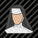 catholic, christian, nun, religion, sister, veil icon