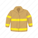 bunker gear, coat, fireman coat, fireman gear, gear, turnout gear icon