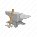 anvil, blacksmith, craft, crafting, hammer, smithing icon