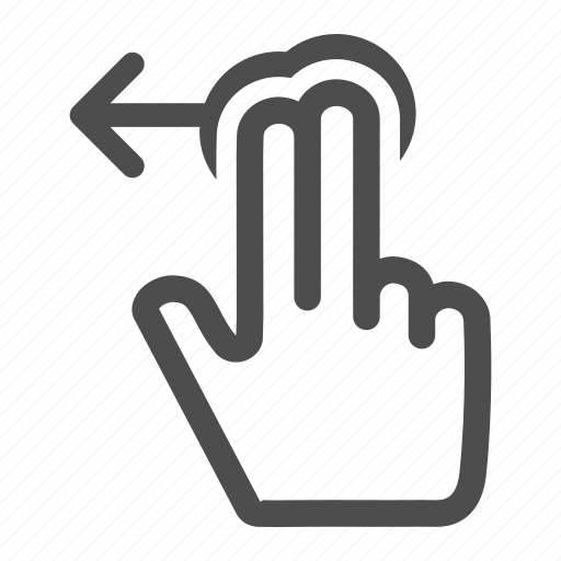 arrow, direction, fingers, gesture, hand, horizontal, left, move, previous, touch icon