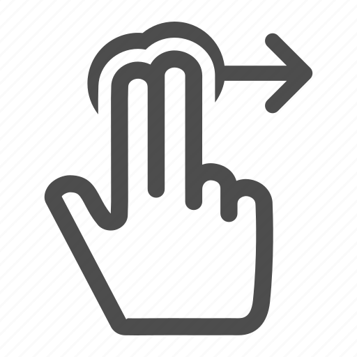arrow, fingers, gesture, hand, horizontal, move, next, right, touch icon
