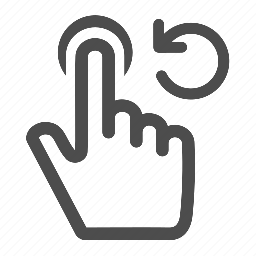 anticlockwise, arrow, finger, fingers, gesture, rotate, touch icon