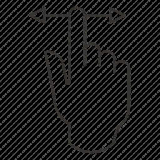 drag, hand, horizontal, left, movement, right, swipe icon