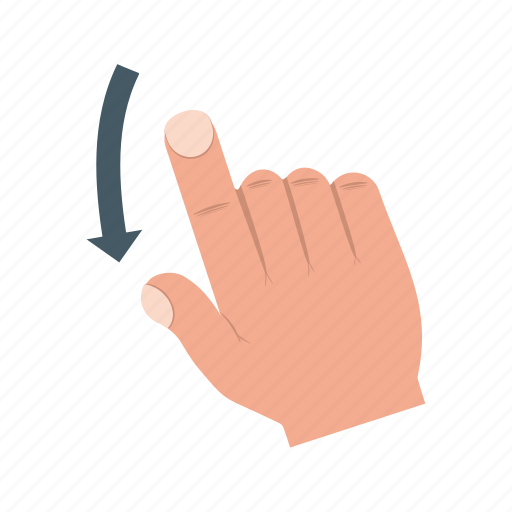 down, drawn, finger, hand, scroll, swipe, touch icon