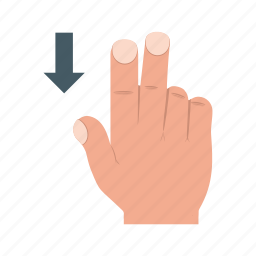 down, finger, gesture, gestures, hand, scroll, swipe icon