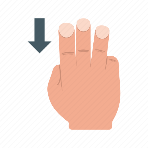 device, fingers, gesture, hand, system, three, up icon