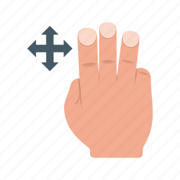 device, fingers, gesture, hand, move, system, three icon