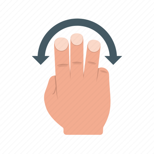 finger, hand, rotate, slide, swipe, three, touch icon