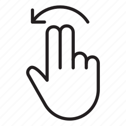 arrow, flick, gestures, hand, left, touch, two finger icon