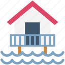 beach house, beach hut, cottage, resort, sea icon