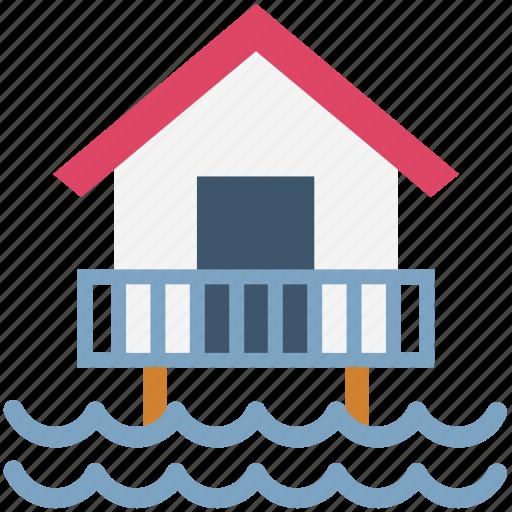 beach house, beach hut, cottage, resort, sea icon