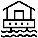 beach house, cottage on beach, hut, resort, sea house icon