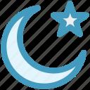 islam, moon, moon and star, night, star, symbolic moon icon