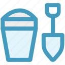 beach, bucket, game, sand, shovel, toy icon