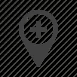 city, hospital, location, road, street, town, travel icon