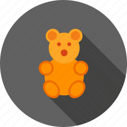 bear, bow, brown, small, stuffed, teddy, toy icon