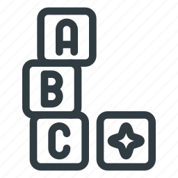 blocks, bricks, building, cube, lettered, toyconstruction icon