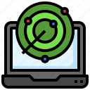 laptop, electronics, radar, searching, location