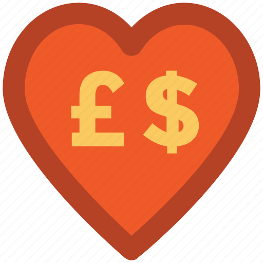 currency, currency symbol, dollar, dollar pound, exchange, heart, money icon