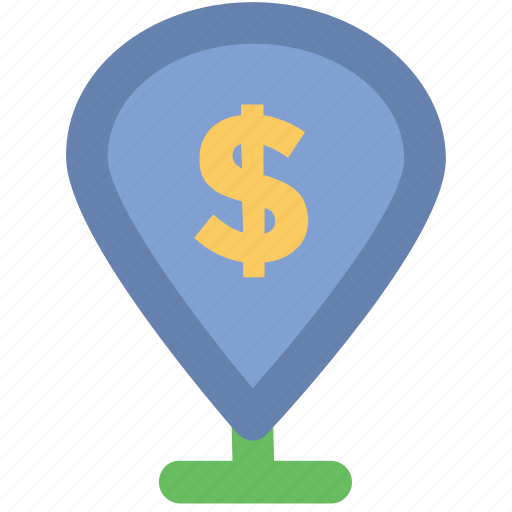 bank, dollar sign, gps, location, locator, map pin, navigation icon