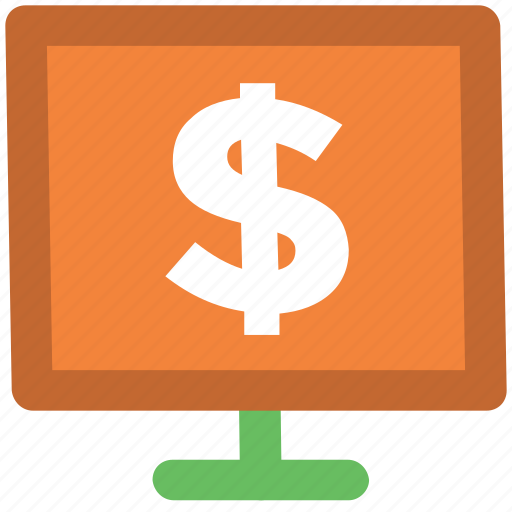 dollar display, e commerce, ecommerce, economy concept, finance, marketing, monitor screen, web element icon