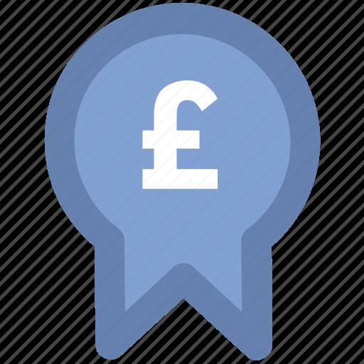 award, award badge, award ribbon, badge, british pound, currency, pound badge icon