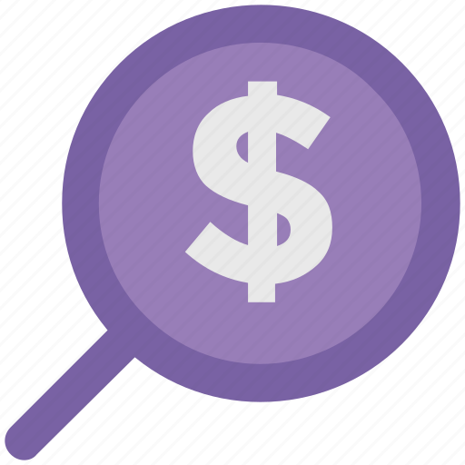 dollar search, glass, magnifier, magnifying glass, zoom icon