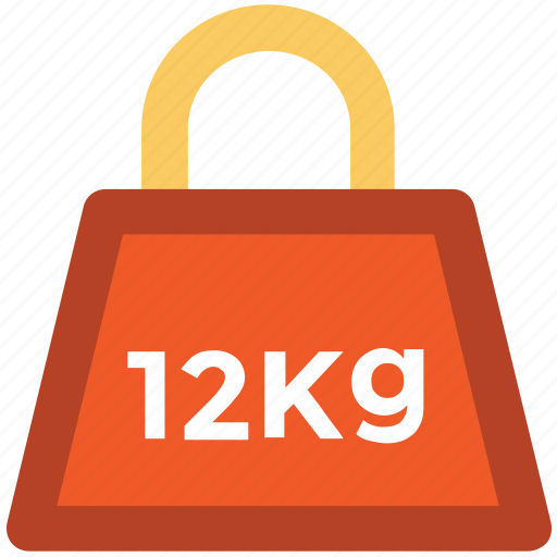delivery, kg, kilogram, mass, measure, twelve kg, weight icon