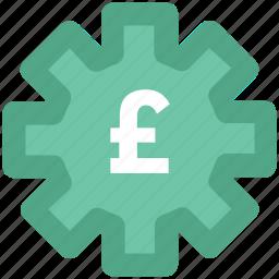 british pound, cog, cog wheel, currency settings, gear, pound, wheel icon