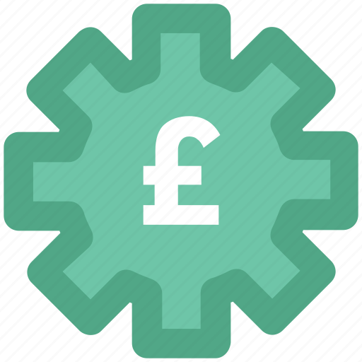 british pound, cog, cog wheel, currency settings, gear, pound, wheel icon