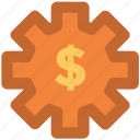 cog, cog wheel, currency settings, dollar, gear, usd, wheel icon