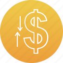 banking, currency value, dollar value, economy, investment icon