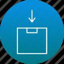 carton box, down arrow, fragile, packaging, wrapping icon