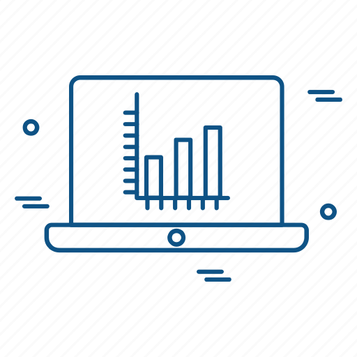 business, chart, laptop, marketing, trade icon