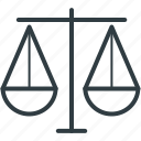 balance scale, equality, judgment, justice balance, law symbol icon