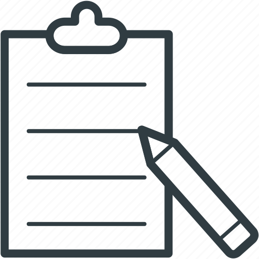 clipboard, document, office supplies, pen, school supplies, writing icon