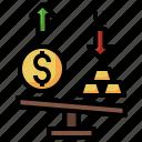 scale, justice, balance, gold, dollar