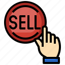 selling, click, press, finger, button