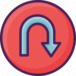 arrow, direction, navigation, sign, traffic, turn, u icon